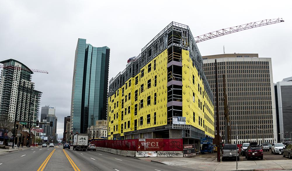Construction on the 2075 Broadway Lofts. (Kevin J. Beaty/Denverite)  development; construction; five points; arapahoe square; denver; colorado; denverite; kevinjbeaty;