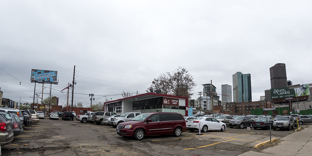 A parking lot at 2250 Champa St. (Kevin J. Beaty/Denverite)  development; construction; five points; arapahoe square; denver; colorado; denverite; kevinjbeaty;