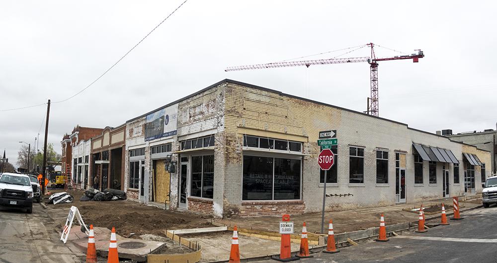 Ongoing work at 2200 California Street. (Kevin J. Beaty/Denverite)  development; construction; five points; arapahoe square; denver; colorado; denverite; kevinjbeaty;