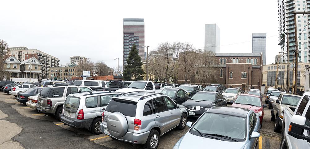 The parking lot north of St. Andrew's Episcopal Church. (Kevin J. Beaty/Denverite)  development; construction; five points; arapahoe square; denver; colorado; denverite; kevinjbeaty;