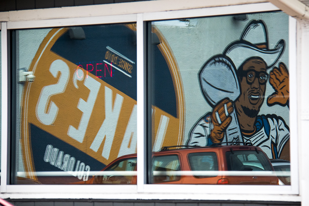 Von Miller seen painted on the side of Jake's Sports & Spirits before it closes for good, March 29, 2017. (Kevin J. Beaty/Denverite)  Jake's Sports & Spirits; food; nightlife; bars; rino; five points; kevinjbeaty; denverite; denver; colorado;
