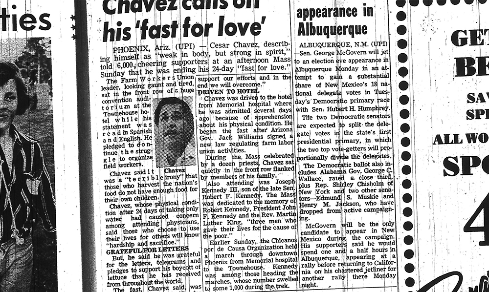 (Rocky Mountain News/Denver Public Library)  cesar chavez; archive; history;