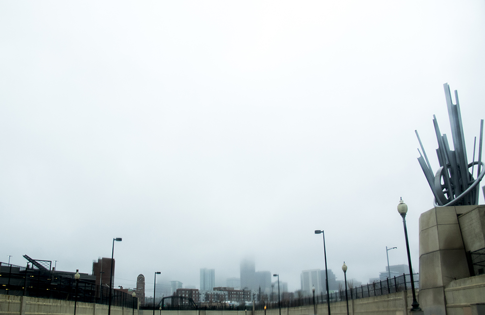 A foggy spring afternoon. (Kevin J. Beaty/Denverite)  denver; colorado; kevinjbeaty; denverite; cowx; weather; fog; dreary; rain; skyline; cityscape;