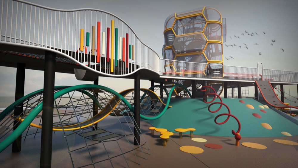 A rendering of a play area meant for Paco Sanchez Park. A plaza envisioned for Paco Sanchez Park. (City of Denver/Dig Studio/PORT Urbanism/Independent Architecture)