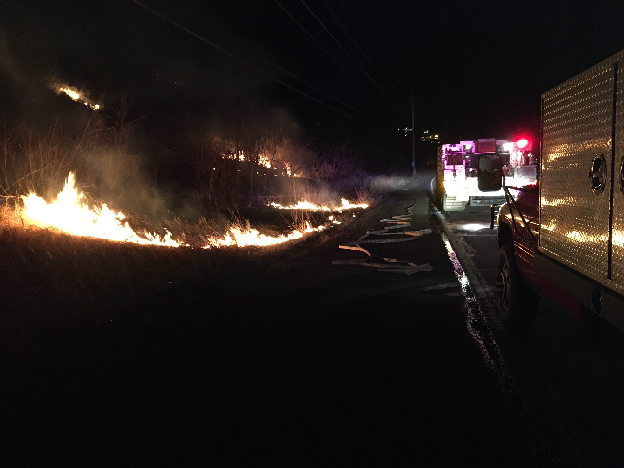 A fire burns near South Table Mountain in Golden. (Courtesy West Metro Fire Rescue.)