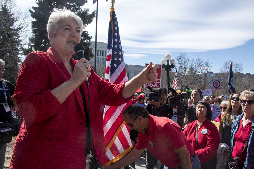 """District 31 Senator Lois Court speaks at a rally at the Capitol on the """"day without women,"""" Mar. 8, 2017. (Kevin J. Beaty/Denverite)  womens march; day without women; protest; capitol; rally; kevinjbeaty; denver; denverite; colorado;"""