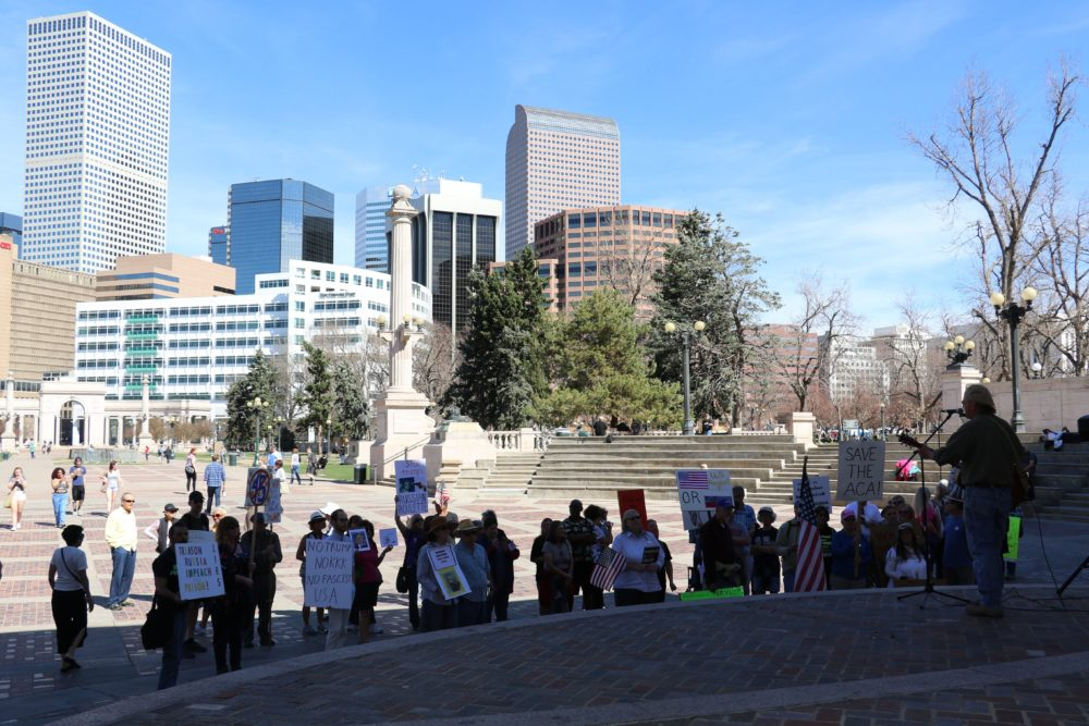 A rally to demand an investigation into Donald Trump's connections to Russia at Civic Center Park. March 18, 2017. (Ashley Dean/Denverite)