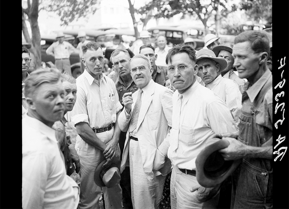 Drought committee meeting with farmers. Springfield, Colorado, August 1936. (Arthur Rothstein/Library of Congress/LC-USF34-005239)