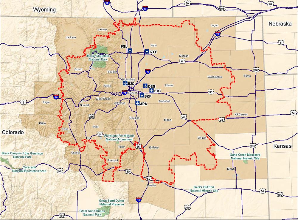 The Denver Metroplex. (Courtesy, FAA)  DIA; airplane; air travel;