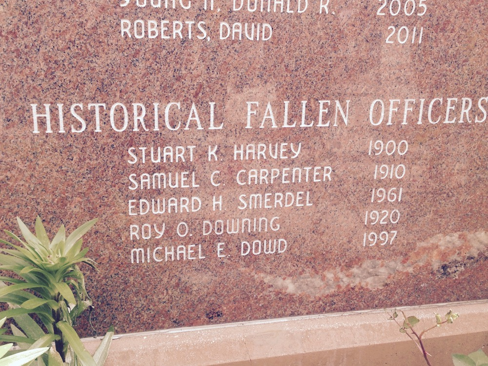 Michael Dowd's name on the Denver Police memorial.