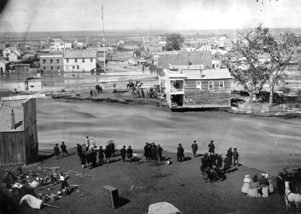View of a Cherry Creek flood in 1864. (Denver Public Library/Western History Collection/X-29336)  denver public library; denver; colorado; denverite; cherry creek flood; historic; history;