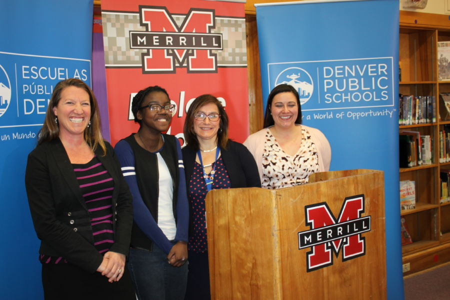Parent Becky Wiggins and student Jael Iyema joined Susana Cordova, DPS deputy superintendent and Christina Sylvester, principal of Merrill Middle School for a press event about school choice. (Courtesy DPS)