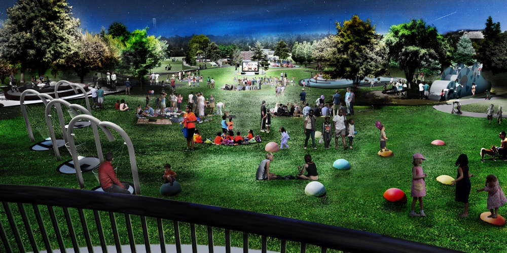 An artist's rendering of Paco Sanchez Park after a few million of upgrades. A plaza envisioned for Paco Sanchez Park. (City of Denver/Dig Studio/PORT Urbanism/Independent Architecture)