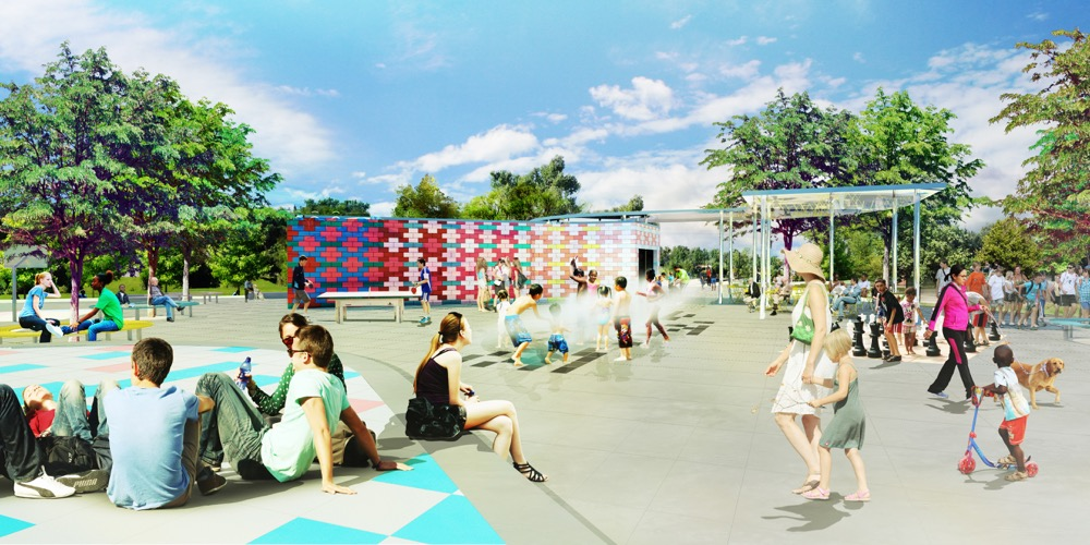 A plaza envisioned for Paco Sanchez Park. (City of Denver/Dig Studio/PORT Urbanism/Independent Architecture)