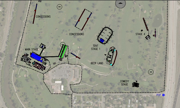 A preliminary diagram of a music festival proposed for Overland Music Festival, which would be modified based on community feedback. (AEG, Brungardt Enterprises)