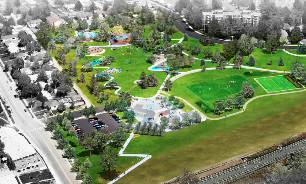 A rendering of the long-term plan for a recreational area in Paco Sanchez Park. A plaza envisioned for Paco Sanchez Park. (City of Denver/Dig Studio/PORT Urbanism/Independent Architecture)