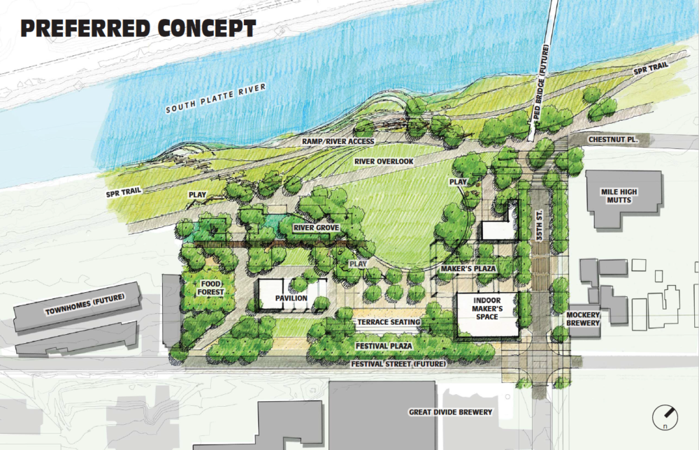 An early concept for the design of RiNo Park.  (Courtesy of North Denver Cornerstone Collaborative)