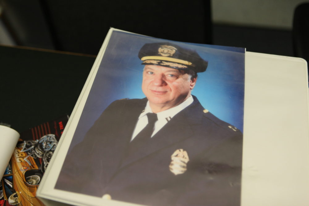 Steve Metros' file at Denver Police Department headquarters. (Andrew Kenney/Denverite)