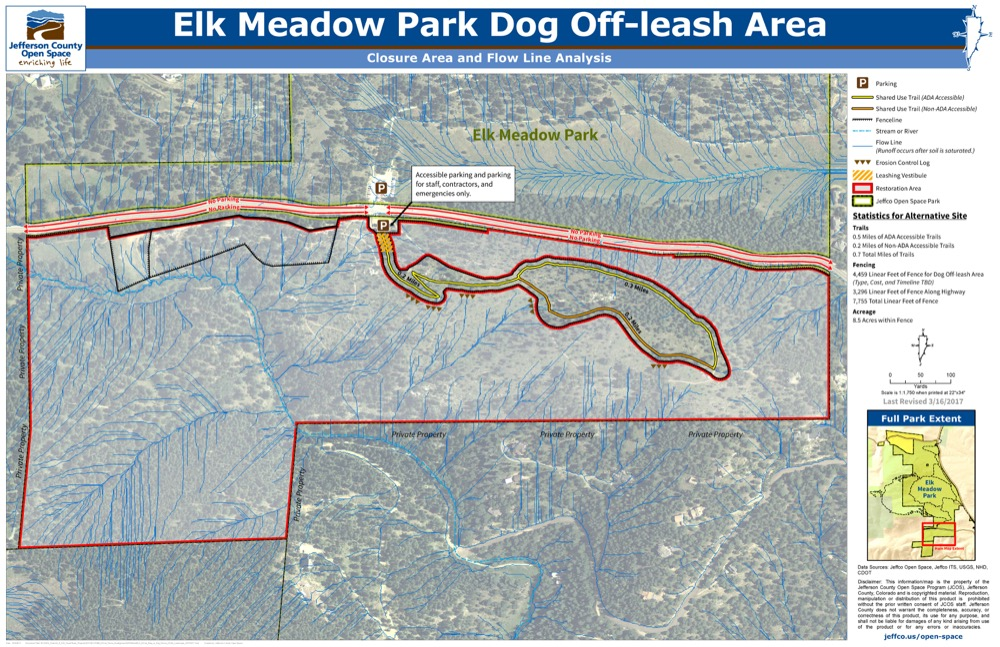 The internal red and black shape represents the area of Elk Meadow off-leash dog area that may remain open.