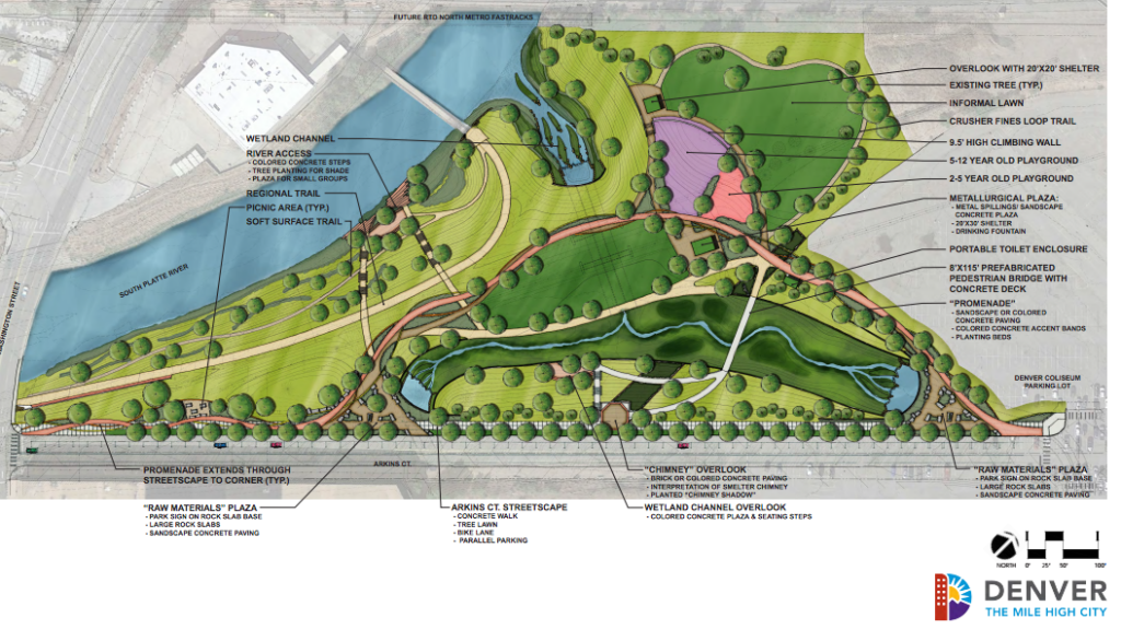 City plans for the first phase of rebuilding Globeville Landing. A later phase will include new park features. (City of Denver)