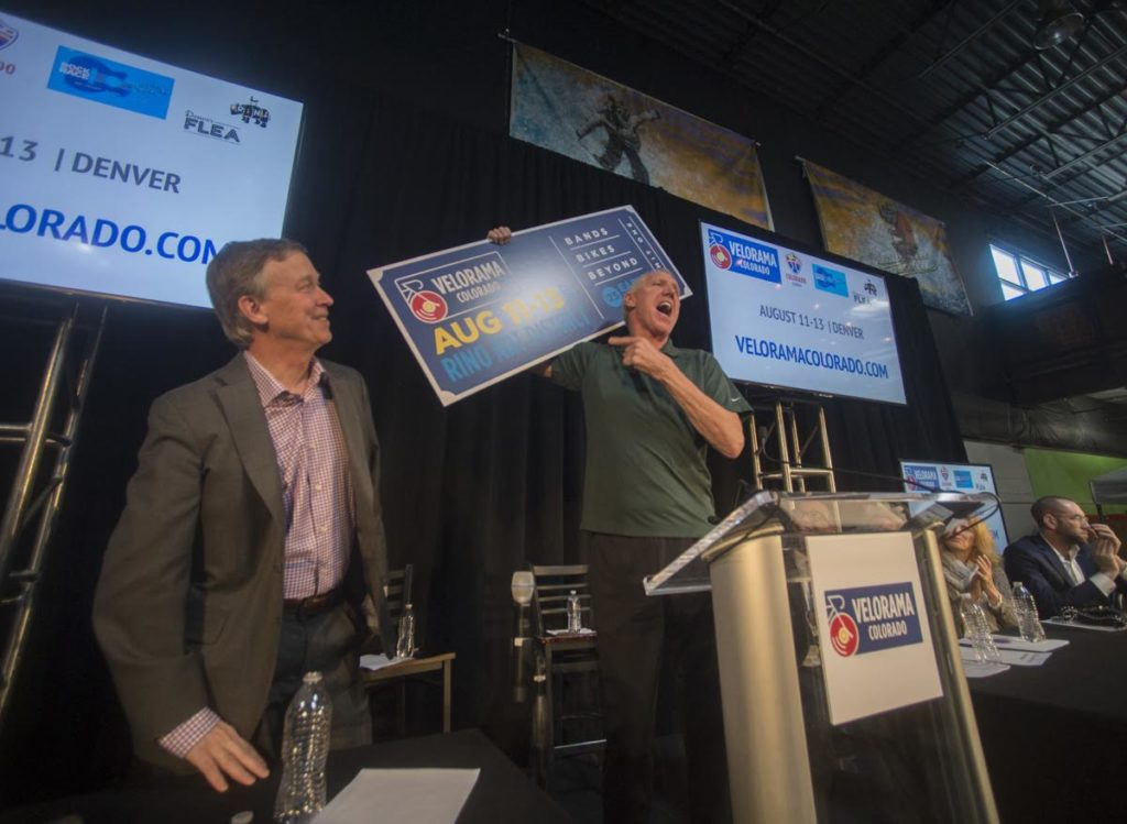 Gov. John Hickenlooper and Bill Walton at the Velorama Colorado announcement March 1, 2017. (Photo: Evan Semón Photography)