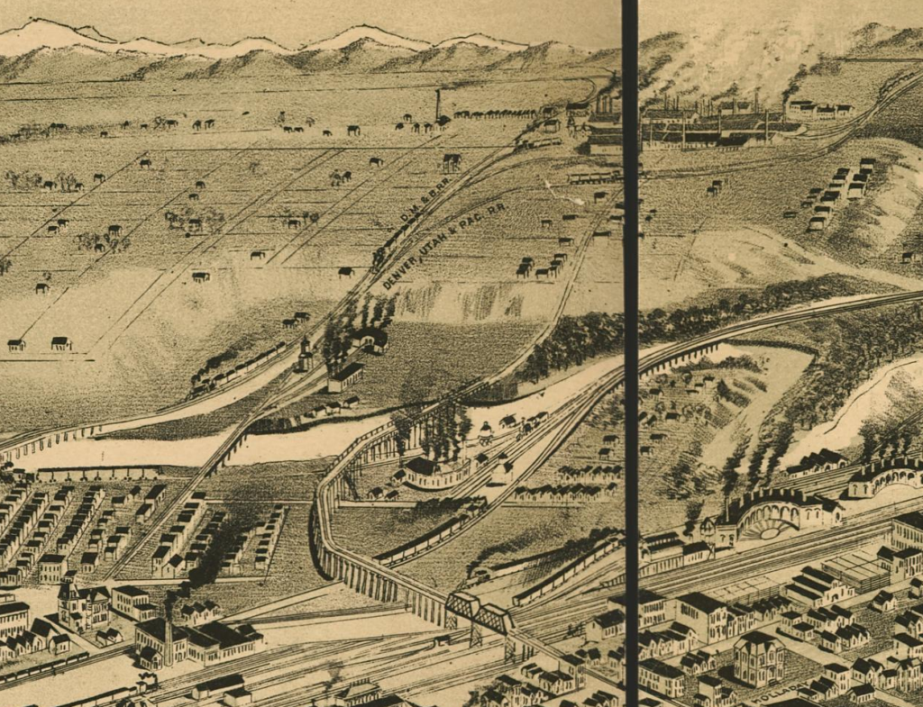 The company town of Argo, at topright, was connected to Denver by freight rail lines and by the streetcar viaduct at bottom center. (Denver Public Library)