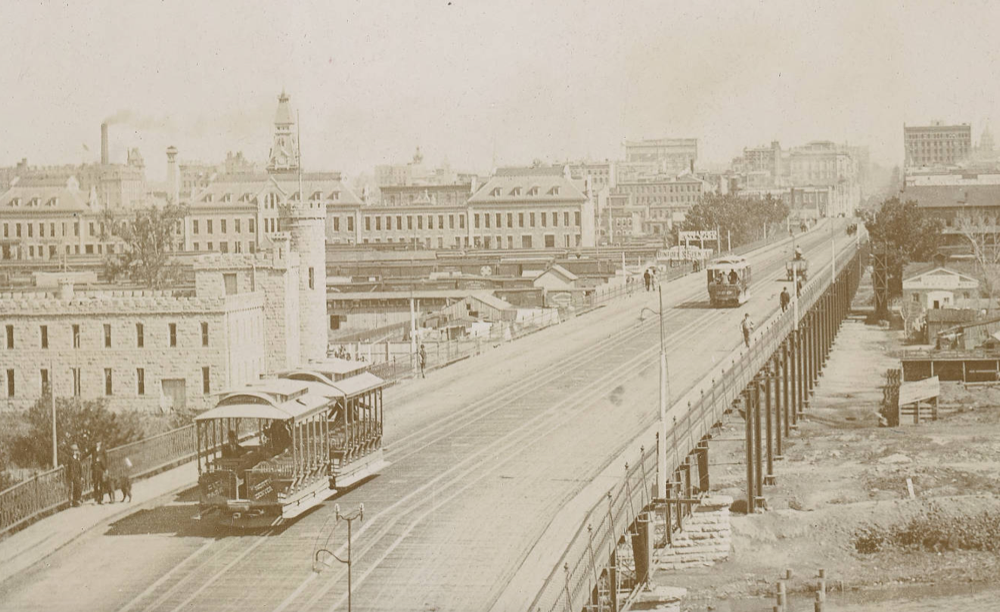 A view of the 16th Street viaduct in Denver form the west, likely in the late 1800s. (William Henry Jackson/Western History and Genealogy Dept./Denver Public Library)