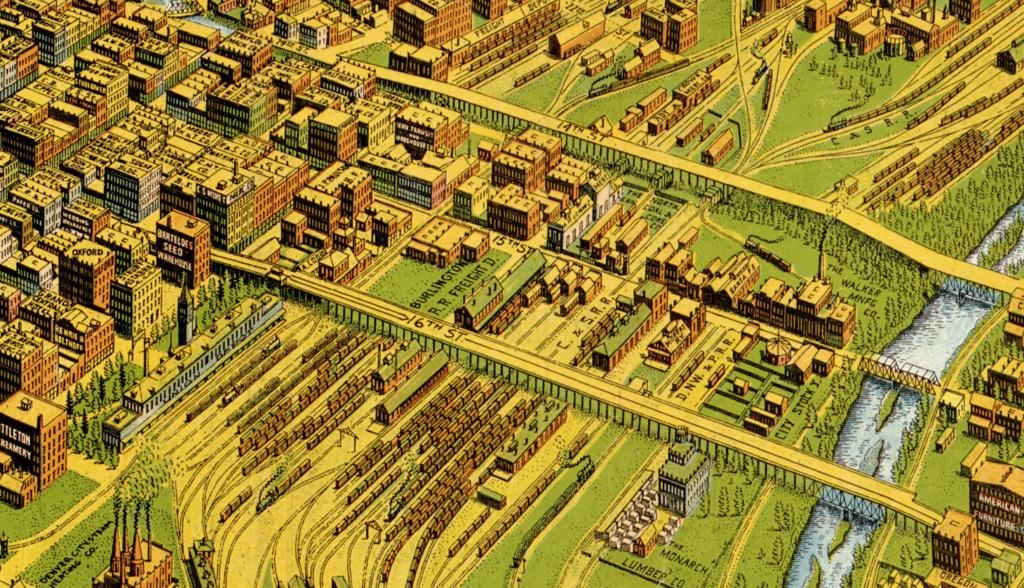 An illustrated view of the 14th and 16th street viaducts in 1908. (Library of Congress)