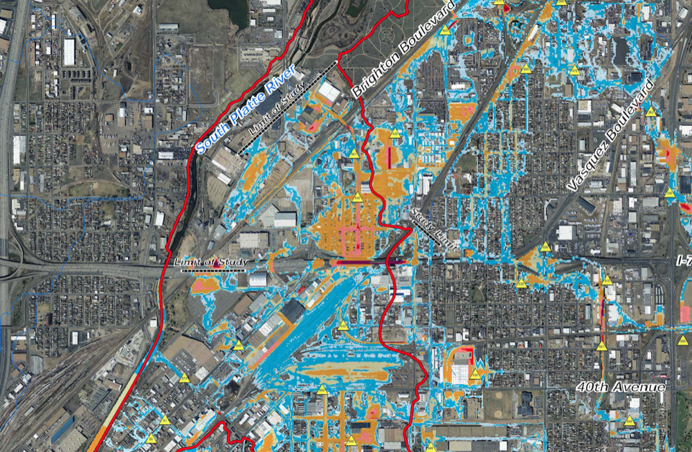 City projections of a 100-year flood near the National Western Center. (City of Denver)