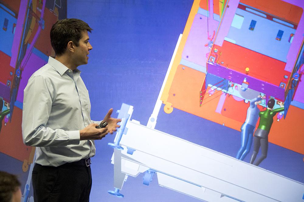 Virtual engineers work on virtual projects at the CHIL. Lockheed Martin media day, April 3, 2017. (Kevin J. Beaty/Denverite)  lockheed martin; aerospace; science; astronaut; inventions; kevinjbeaty; tech; denver; colorado; denverite;