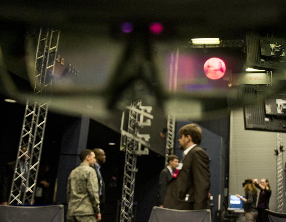 A 3D planet model seen through a Microsoft Hololens at the CHIL. Lockheed Martin media day, April 3, 2017. (Kevin J. Beaty/Denverite)  lockheed martin; aerospace; science; astronaut; inventions; kevinjbeaty; tech; denver; colorado; denverite;