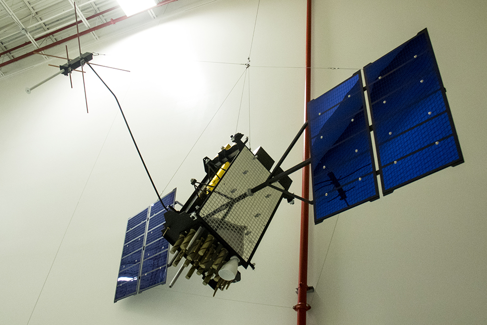 A small scale model of a GPS3 satelite. Lockheed Martin media day, April 3, 2017. (Kevin J. Beaty/Denverite)  lockheed martin; aerospace; science; astronaut; inventions; kevinjbeaty; tech; denver; colorado; denverite;