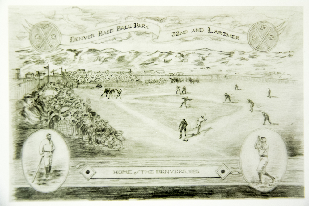 "A drawing depicting the ""Denvers,"" who played at 32nd and Larimer in 1885. (Denver Public Library/Western Hisory Collection/Karle Seydel Papers)  baseball; coors field; sports; denver; colorado; denverite; denver public library;"