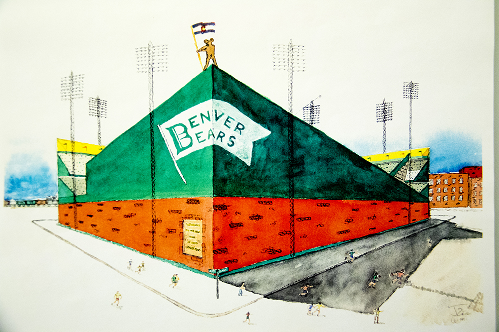 A drawing of a massive peaked wall by conceptual artist Bruce Hellerstein.   (Denver Public Library/Western Hisory Collection/Karle Seydel Papers)  baseball; coors field; sports; denver; colorado; denverite; denver public library;