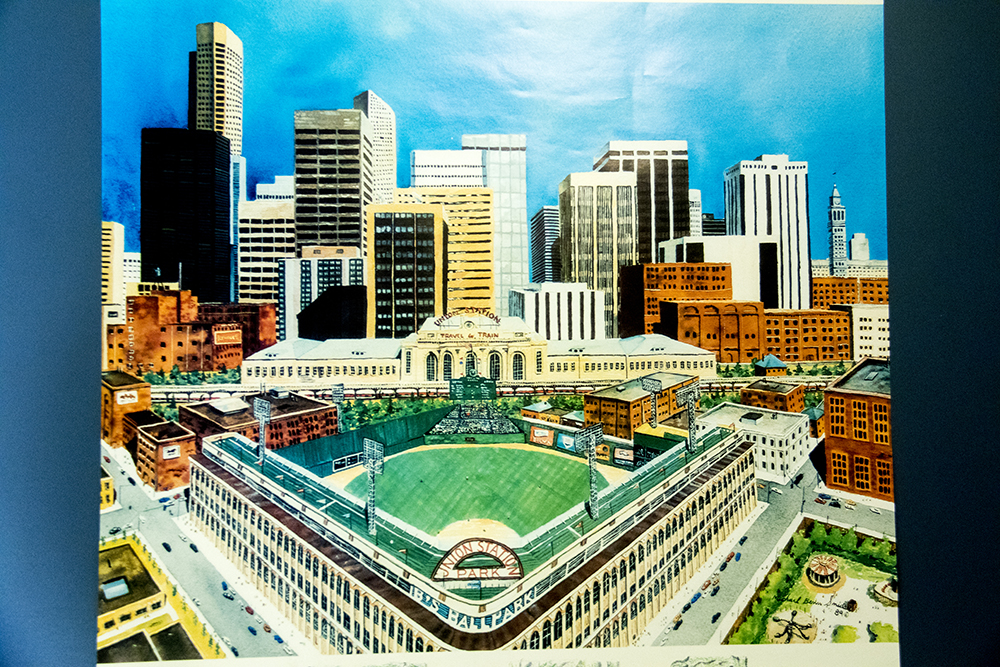 """An imagination of """"Union Park"""" in front of Union Station before a towering skyline. (Denver Public Library/Western Hisory Collection/Karle Seydel Papers)  baseball; coors field; sports; denver; colorado; denverite; denver public library;"""