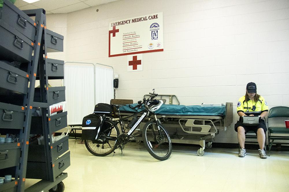 Inside the Coors Field first aid station. Opening day, April 8, 2017. (Kevin J. Beaty/Denverite)  emt; denver health; rockies; coors field; denver; denverite; colorado; kevinjbeaty