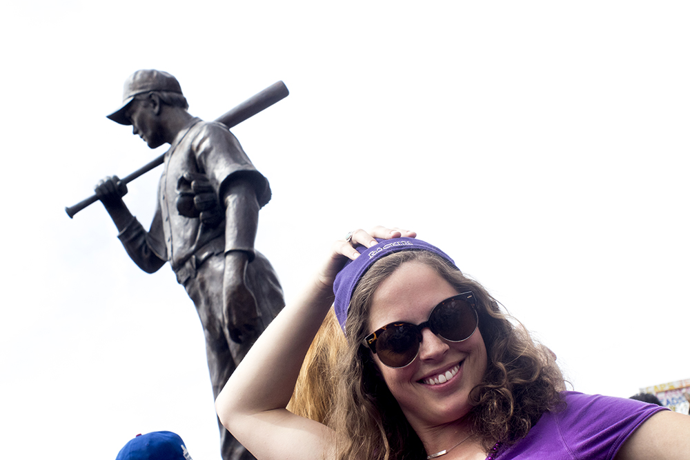 Denverite Liza Browne poses for a photo. Coors Field opening day, April 7, 2017. (Kevin J. Beaty/Denverite)rockies; ballpark; coors field; sports; baseball; opening day; denver; colorado; denverite; kevinjbeaty;
