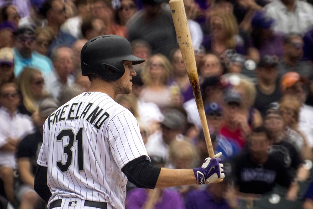 Kyle Freeman at bat. Coors Field opening day, April 7, 2017. (Kevin J. Beaty/Denverite)  rockies; ballpark; coors field; sports; baseball; opening day; denver; colorado; denverite; kevinjbeaty;