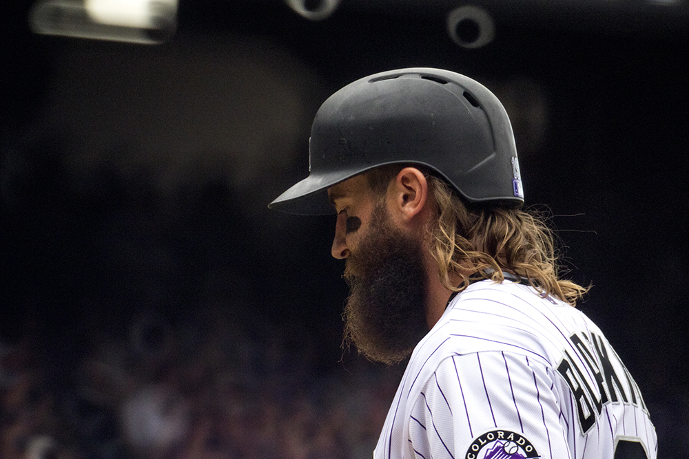 Charlie Blackmon walks to the dugout. Coors Field opening day, April 7, 2017. (Kevin J. Beaty/Denverite)  rockies; ballpark; coors field; sports; baseball; opening day; denver; colorado; denverite; kevinjbeaty;