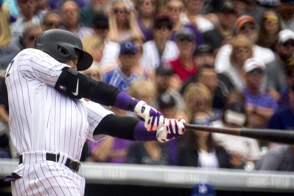 Carlos González at bat. Coors Field opening day, April 7, 2017. (Kevin J. Beaty/Denverite)  rockies; ballpark; coors field; sports; baseball; opening day; denver; colorado; denverite; kevinjbeaty;