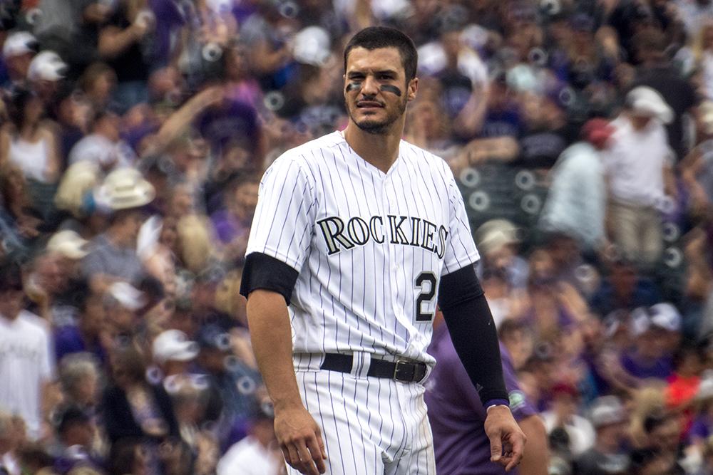 Nolan Arenado at bat. Coors Field opening day, April 7, 2017. (Kevin J. Beaty/Denverite)  rockies; ballpark; coors field; sports; baseball; opening day; denver; colorado; denverite; kevinjbeaty;