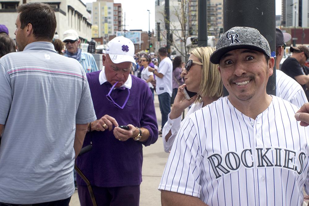 Antonio Cisneros beams a smile. Coors Field opening day, April 7, 2017. (Kevin J. Beaty/Denverite)rockies; ballpark; coors field; sports; baseball; opening day; denver; colorado; denverite; kevinjbeaty;