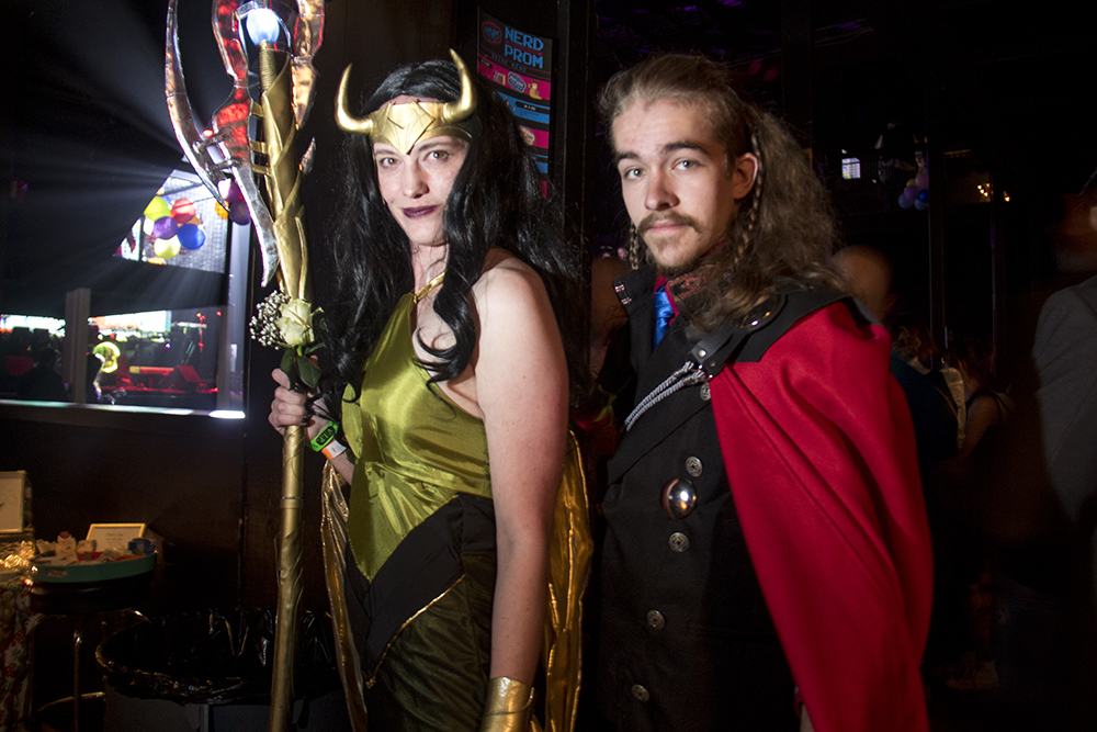 Jordyn Reece as Loki and Josiah Swegle at Thor. Nerd Prom at Summit Music Hall, April 8, 2017. (Kevin J. Beaty/Denverite)  nerd prom; cosplay; geek; party; video games; kevinjbeaty; denver; denverite; colorado;
