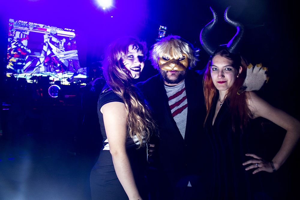 Shohlee Lepzer (left to right) as Venom, Azrakel the Dark Warrior as Cat Man amd Alana Lepzer as Maleficent. Nerd Prom at Summit Music Hall, April 8, 2017. (Kevin J. Beaty/Denverite)  nerd prom; cosplay; geek; party; video games; kevinjbeaty; denver; denverite; colorado;