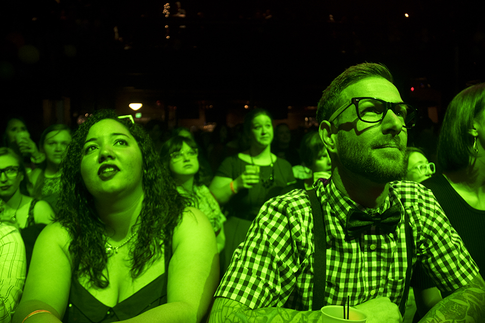 Brent Schultz listens to the Rocket Surgeons. Nerd Prom at Summit Music Hall, April 8, 2017. (Kevin J. Beaty/Denverite)  nerd prom; cosplay; geek; party; video games; kevinjbeaty; denver; denverite; colorado;