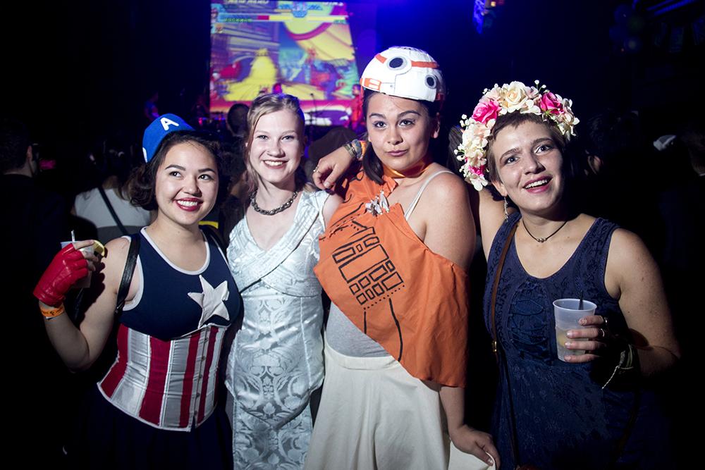 Sarah Shimill (left to right) as Captain America, Annie Newman as Daenerys Targaryen, Julia Gitel as BB-8 and Serena Rasmussen as Diane. Nerd Prom at Summit Music Hall, April 8, 2017. (Kevin J. Beaty/Denverite)nerd prom; cosplay; geek; party; video games; kevinjbeaty; denver; denverite; colorado;