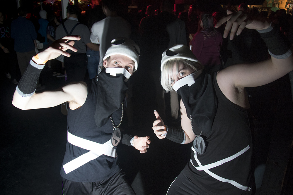 Ben Gould (left) and Taylor Hacth as Team Skull. Nerd Prom at Summit Music Hall, April 8, 2017. (Kevin J. Beaty/Denverite)nerd prom; cosplay; geek; party; video games; kevinjbeaty; denver; denverite; colorado;