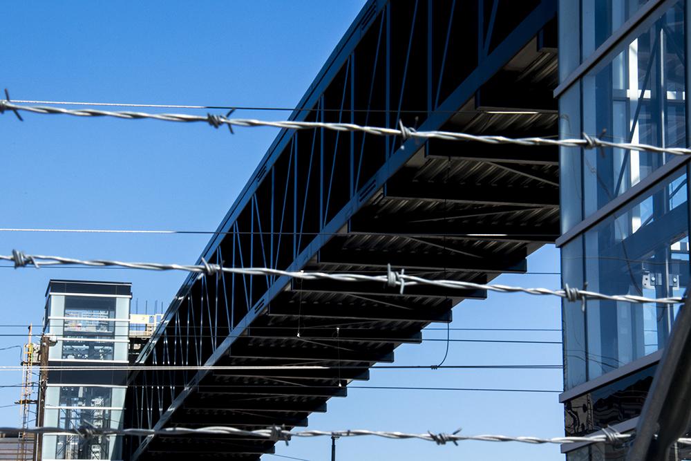 A pedestrian bridge near 36th and Blake Streets that has yet to open. (Kevin J. Beaty/Denverite)  rino; development; 38th and blake; kevinjbeaty; denver; denverite; colorado;