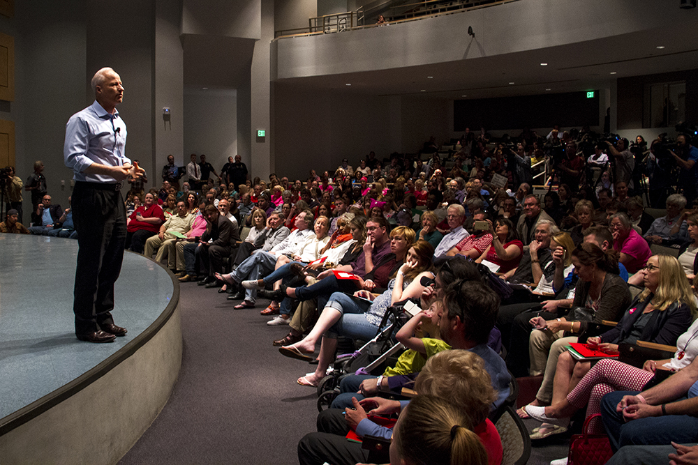 U.S. Rep. Mike Coffman holds his first town hall meeting of the Trump administration, April 12, 2017. (Kevin J. Beaty/Denverite)  mike coffman; aurora; town hall meeting; copolitics; kevinjbeaty; denverite; colorado;