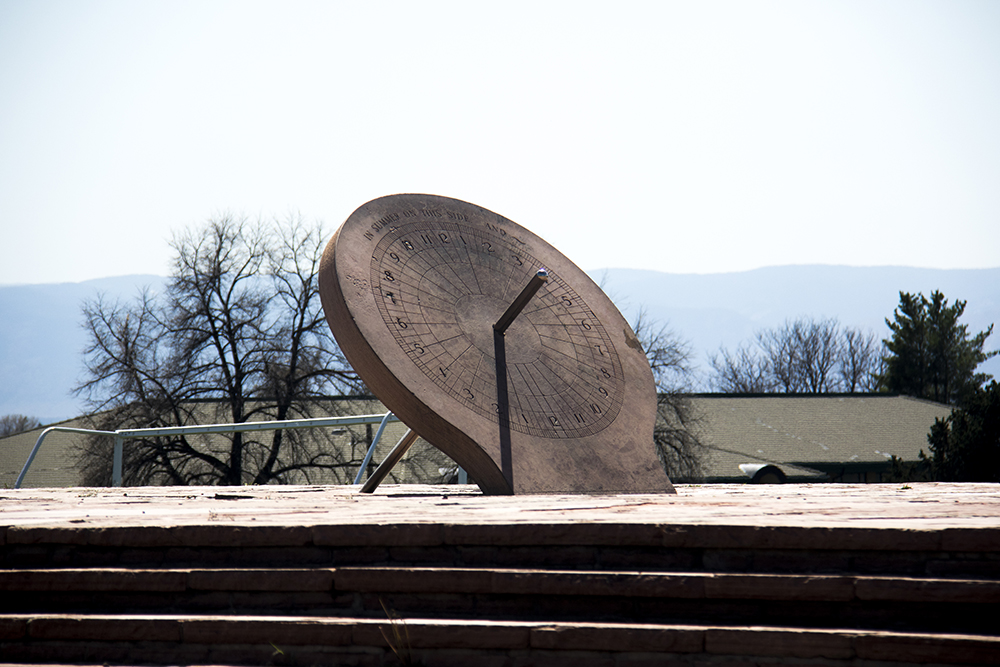 The summer side of the sundial at Cranmer Park. (Kevin J. Beaty/Denverite)  clock; time; sundial; cranmer park; kevinjbeaty; denver; denverite; colorado;